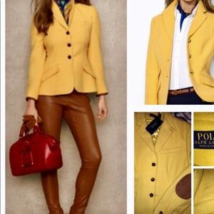 Ralph Lauren yellow riding jacket with elbow patch